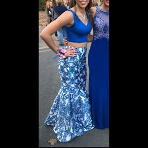 Two piece blue and white long prom dress